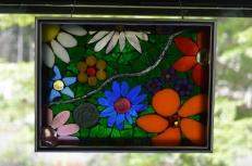 Flower Glass-on-glass window hanging