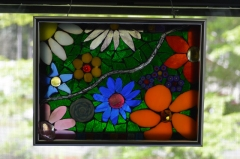 Flower Glass-on-glass window hanging
